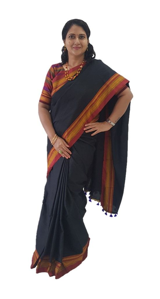Ilkal Khun Fabric Running Pallu Saree Black Red : Details