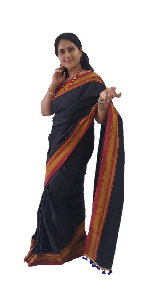 Ilkal Khun Fabric Running Pallu Saree Black Red : Picture