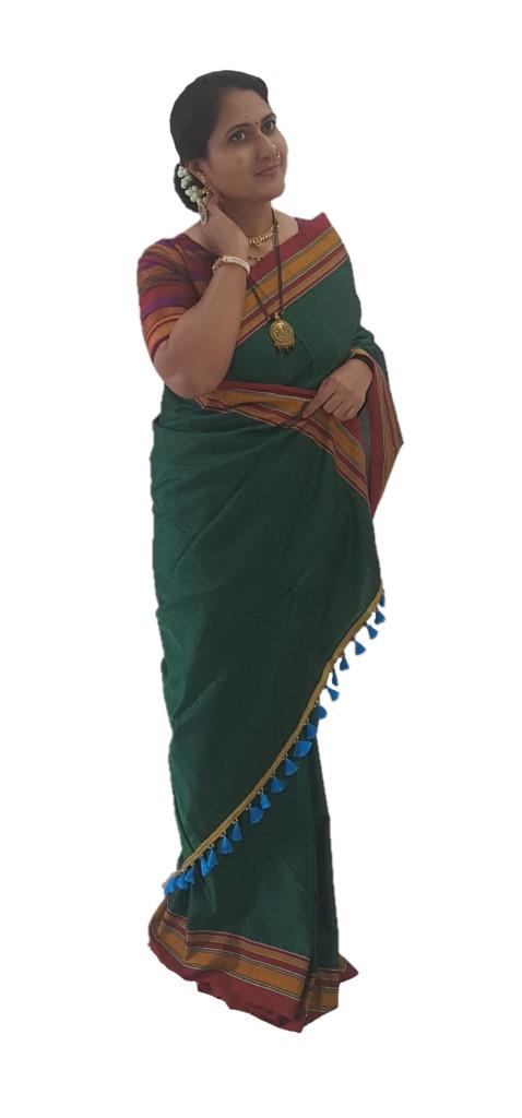 Ilkal Khun Fabric Running Pallu Saree Green Red : Picture