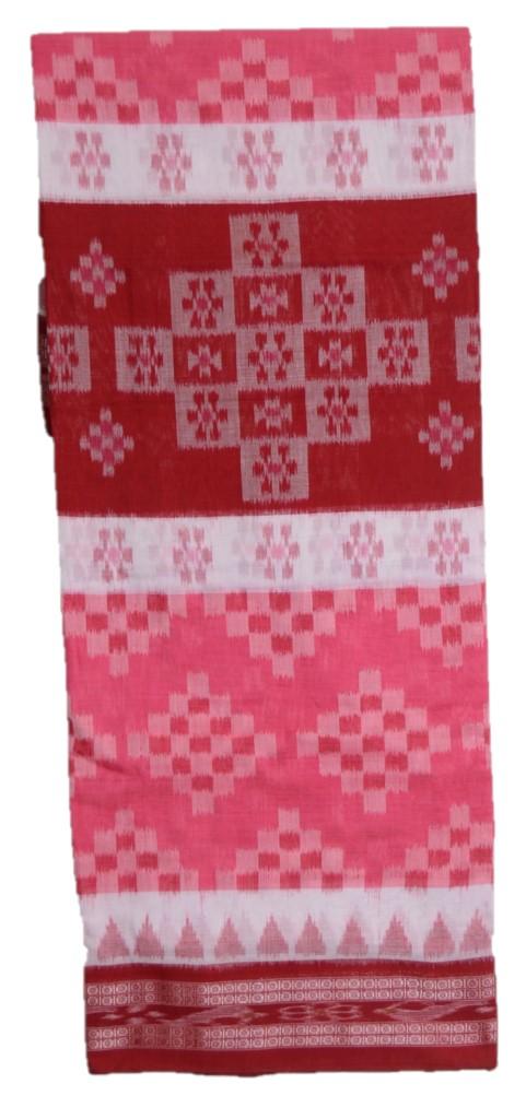 Orissa Handloom Sambalpuri Cotton Full Ikat Pasapalli Design Saree Salmon Pink Red : Picture