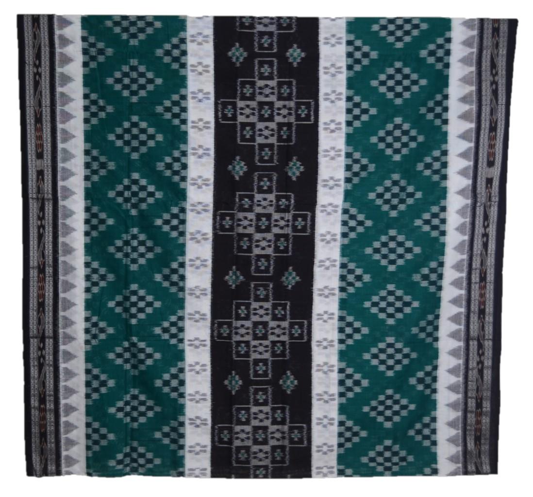 Orissa Handloom Sambalpuri Cotton Full Ikat Pasapalli Design Saree Green Black : Picture