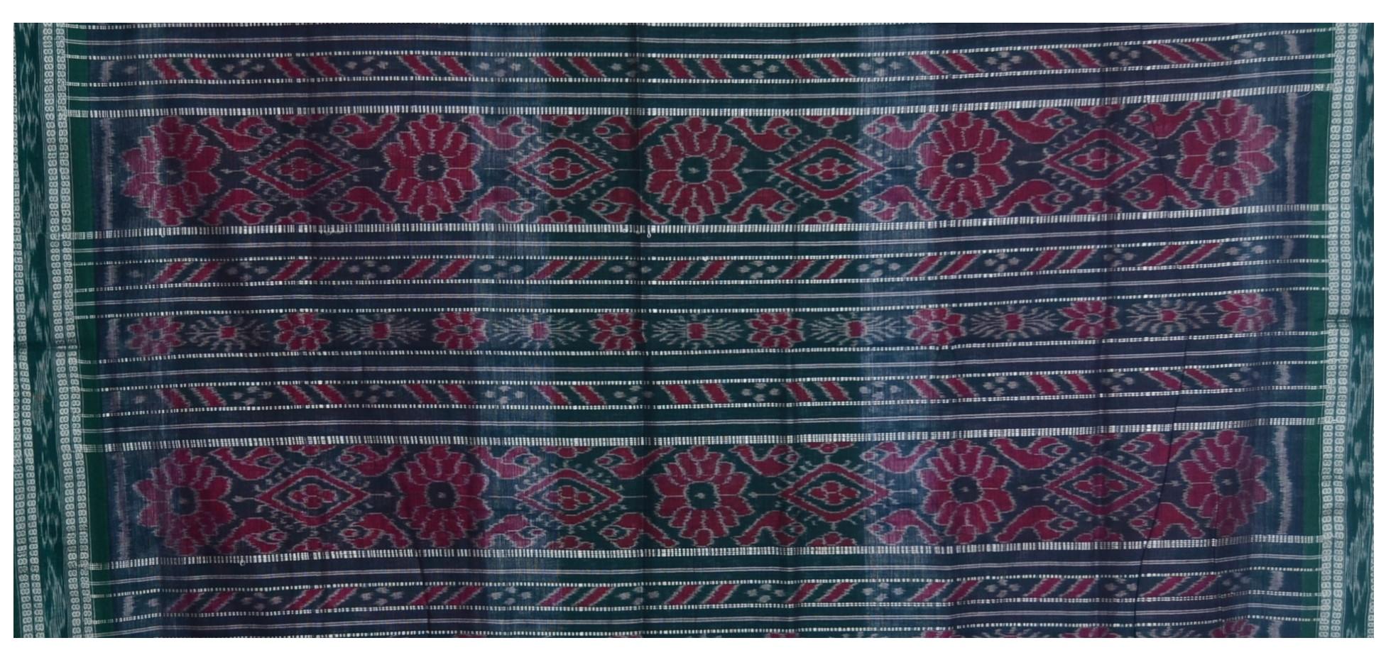 Orissa Handloom Sambalpuri Cotton Full Ikat Pasapalli Design Saree Purple Green : Picture