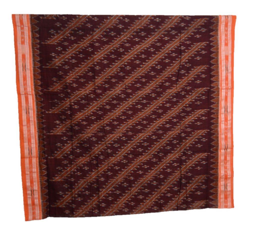 Orissa Handloom Sambalpuri Cotton Body Bandha Full Ikat Saree Brown Orange : Details
