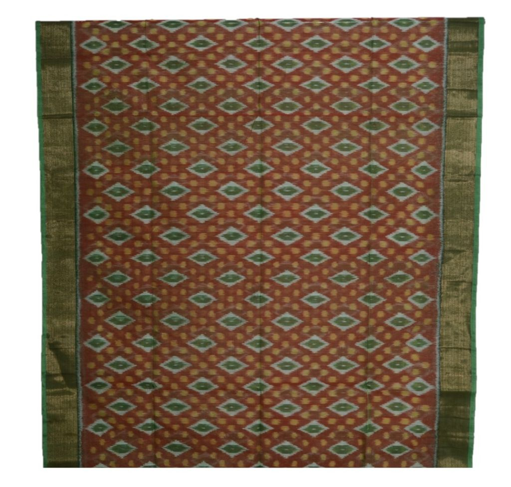 Pochampally Ikat Mercerised Cotton Saree Brown Green : Picture