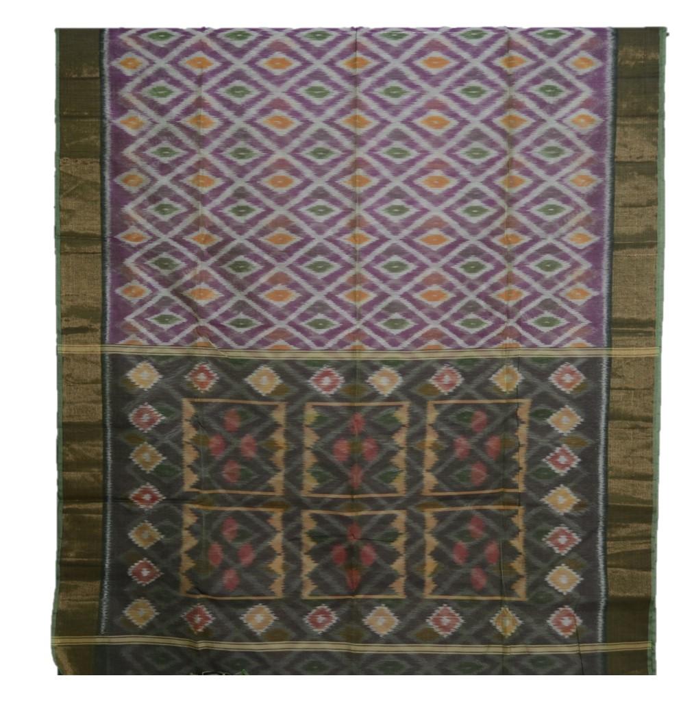 Pochampally Ikat Mercerised Cotton Saree Lavender Mehendi Green : Picture