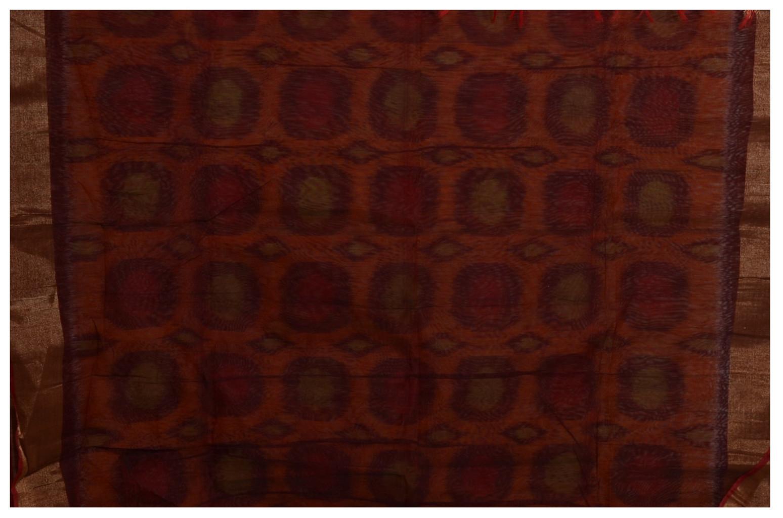 Pochampally Ikat Mercerised Cotton Saree Rusty Orange : Picture