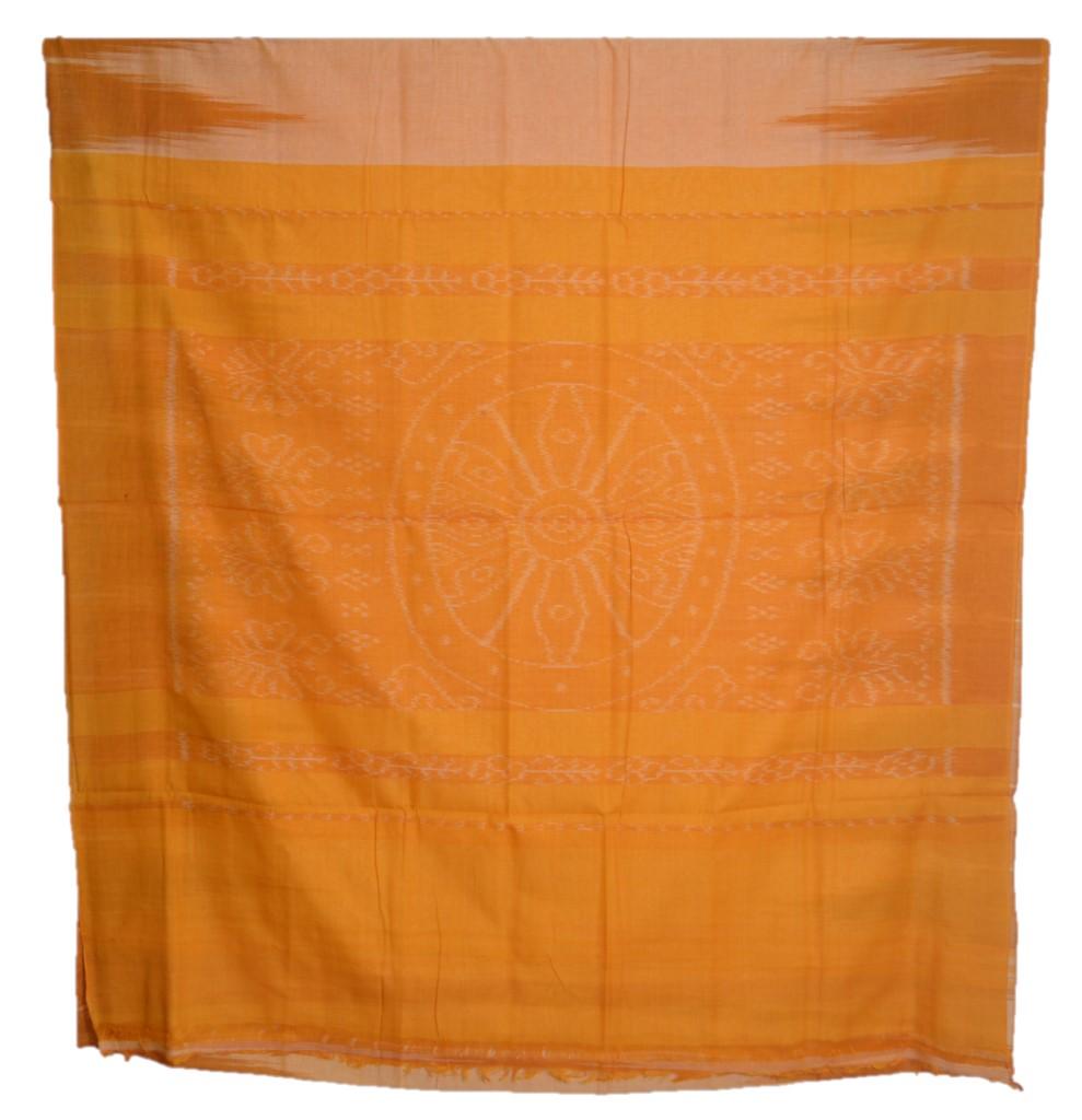 Orissa Handloom Sambalpuri Cotton Aanchal Ikat Temple Border Saree Mustard Yellow : Picture