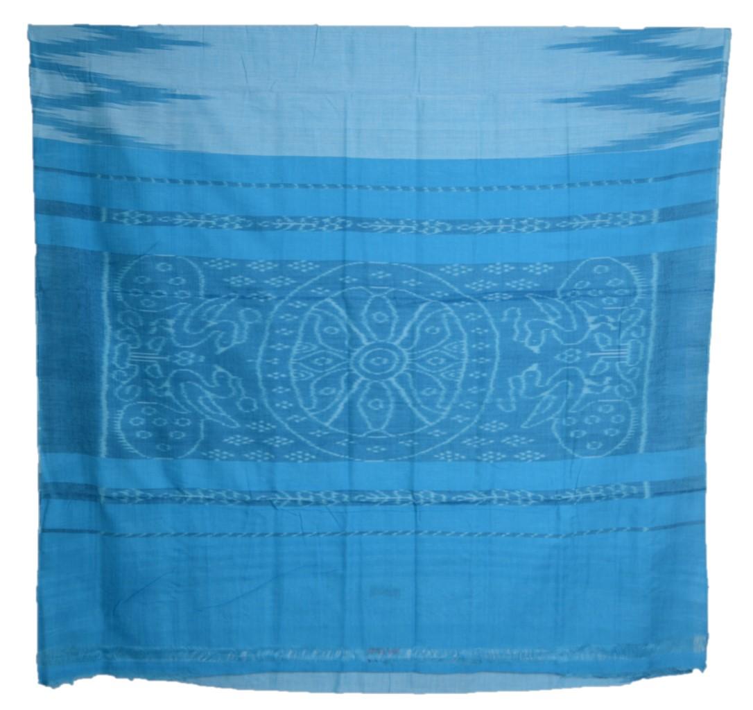 Orissa Handloom Sambalpuri Cotton Aanchal Ikat Temple Border Saree Light Blue : Picture