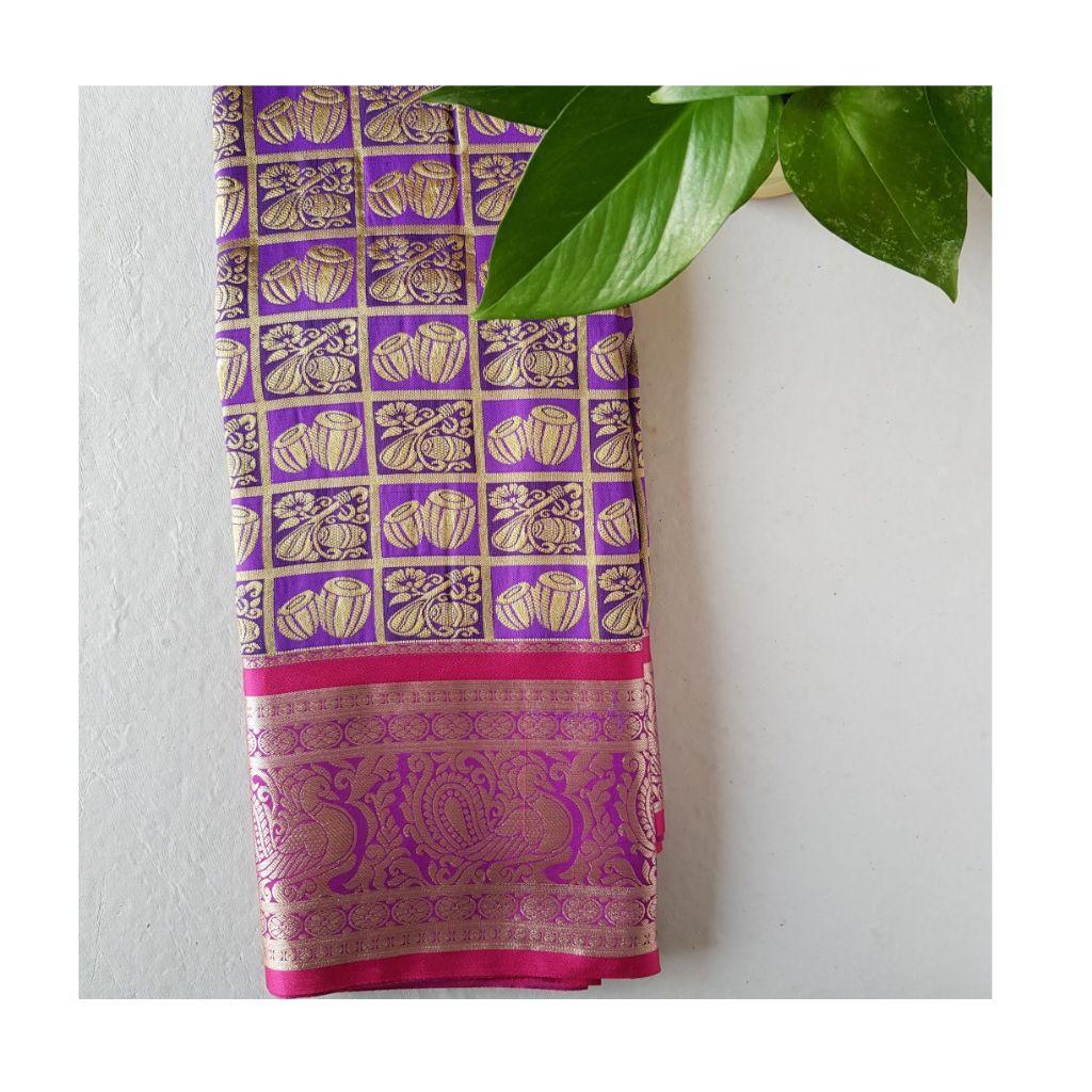 Soft Silk Saree with Zari Work of Musical Instruments Violet : Details