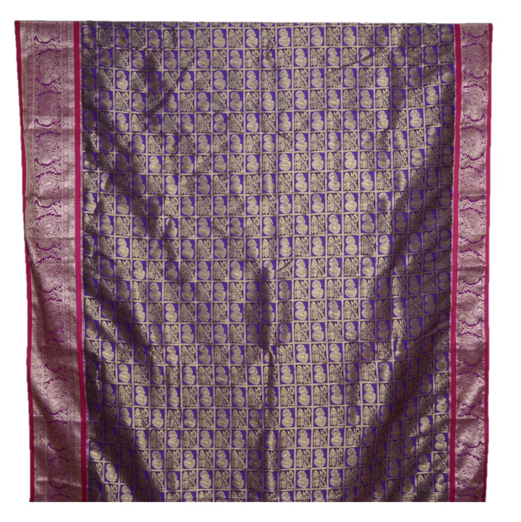 Soft Silk Saree with Zari Work of Musical Instruments Violet : Picture