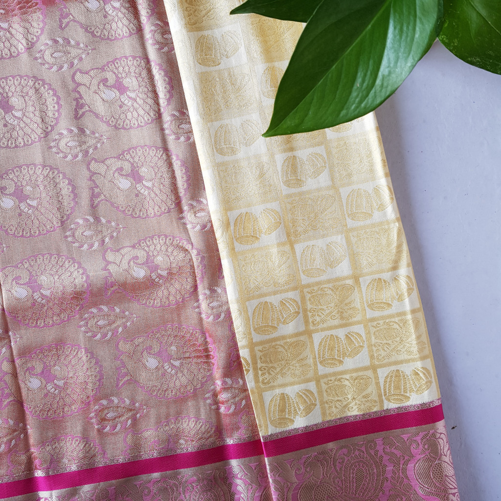 Soft Silk Saree with Zari Work of Musical Instruments OffWhite Pink : Picture