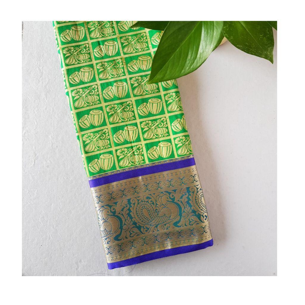 Soft Silk Saree with Zari Work of Musical Instruments Green : Details