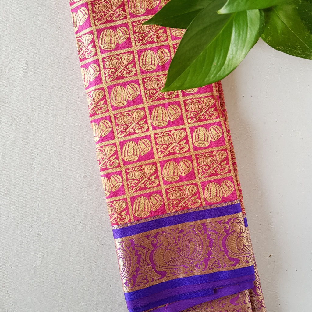 Soft Silk Saree with Zari Work of Musical Instruments Pink Violet : Picture