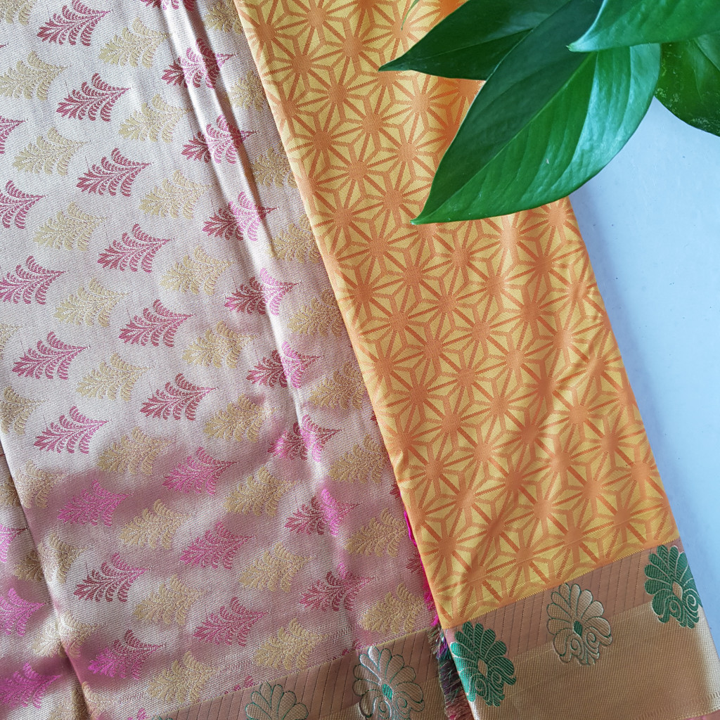 Soft Silk Saree with Fancy Emboss Work Mustard Yellow : Picture