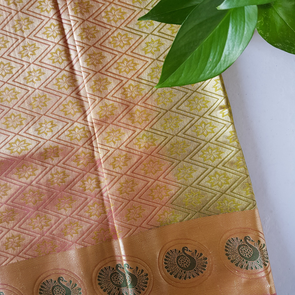 Soft Silk Saree with Fancy Emboss Work Mehendi Green : Picture