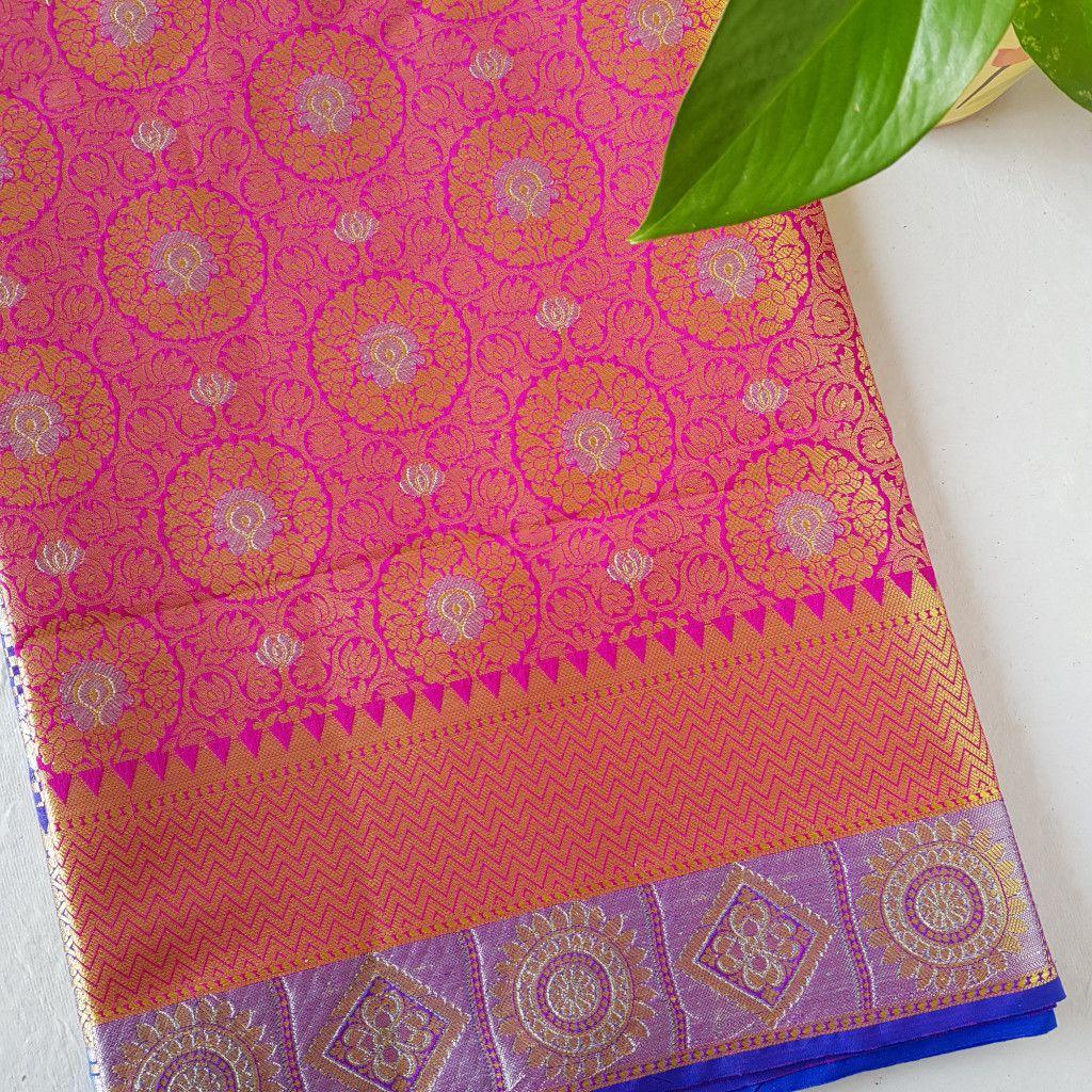 Soft Silk Banarasi Saree with Zari Work  Magenta Blue : Picture