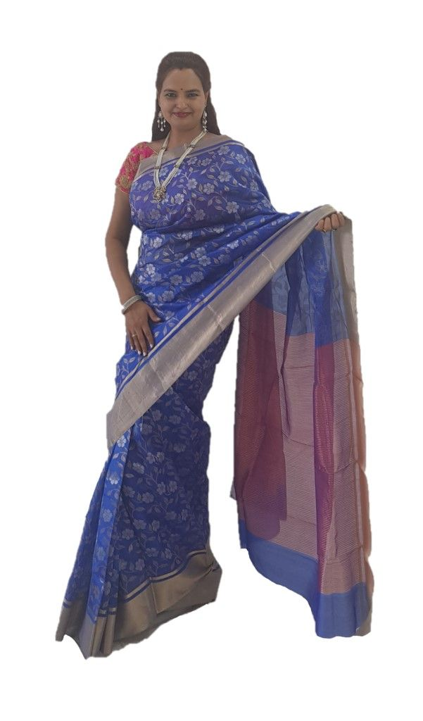 HandWoven Chanderi Pure Silk Jaal Work Saree Royal Blue : Details