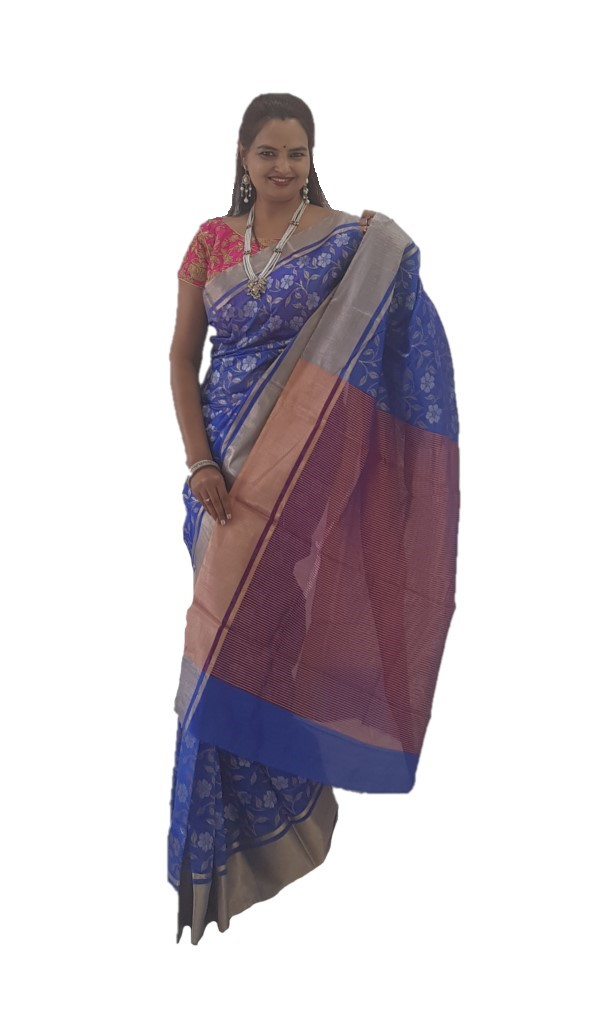 HandWoven Chanderi Pure Silk Jaal Work Saree Royal Blue : Picture