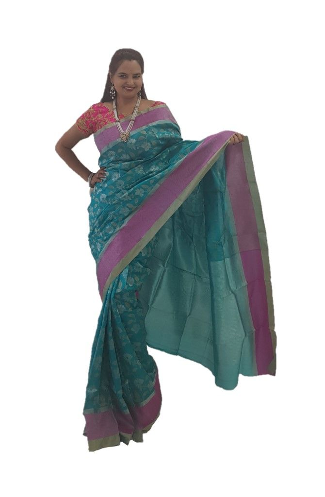 HandWoven Chanderi Pure Silk Jaal Work Saree Rama Green : Picture