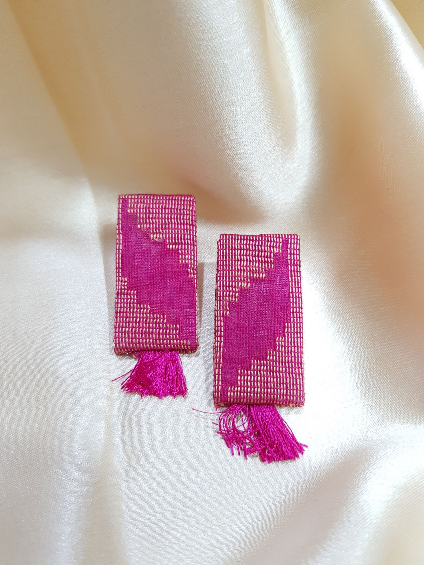 Handcrafted Fabric Jewellery Set Pink : Picture