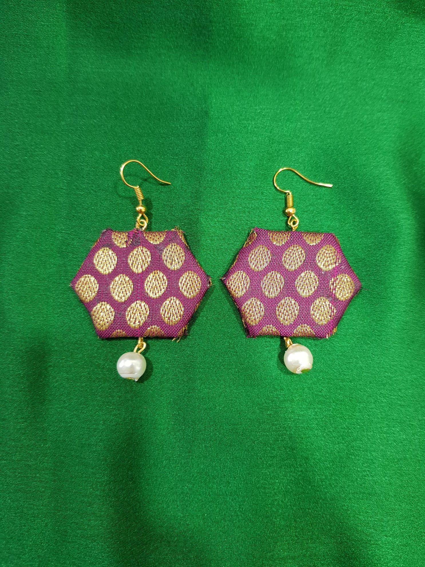 Handcrafted Brocade Fabric Jewellery Set Purple : Picture