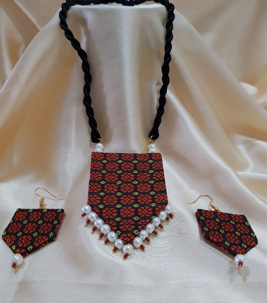 Handcrafted Khun Fabric Jewellery Set Copper : Picture