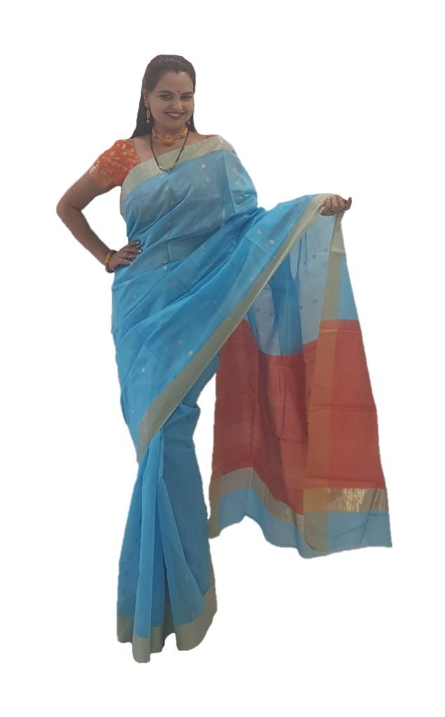 HandWoven Chanderi Pure Silk Cotton Zari Butti Saree Sky Blue Orange : Picture