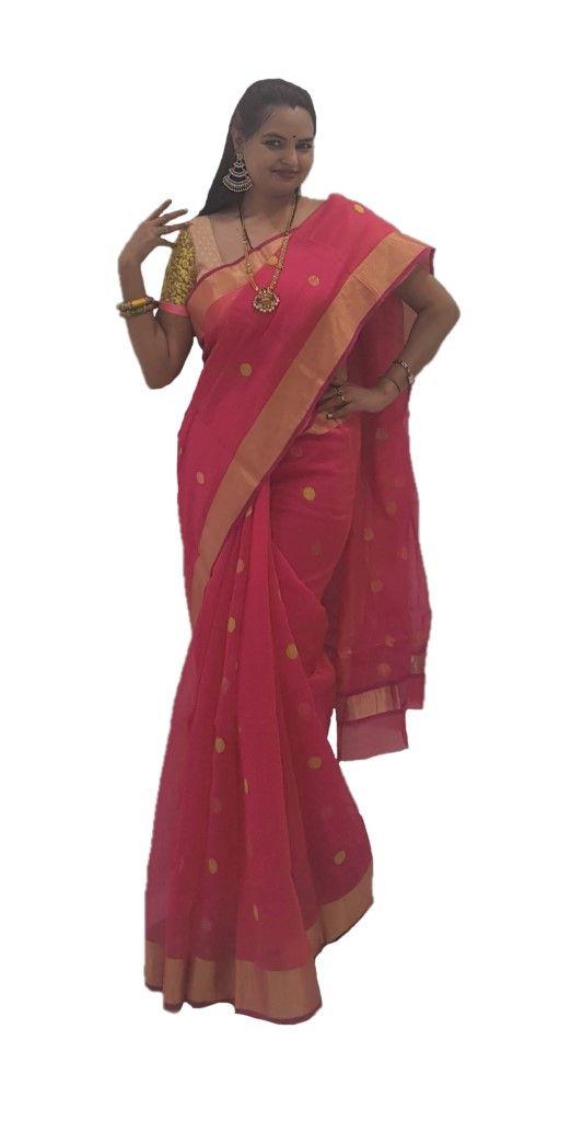 HandWoven Chanderi Pure Silk Cotton Big Zari Butti Saree Bright Pink : Details
