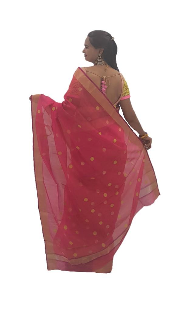 HandWoven Chanderi Pure Silk Cotton Big Zari Butti Saree Bright Pink : Picture
