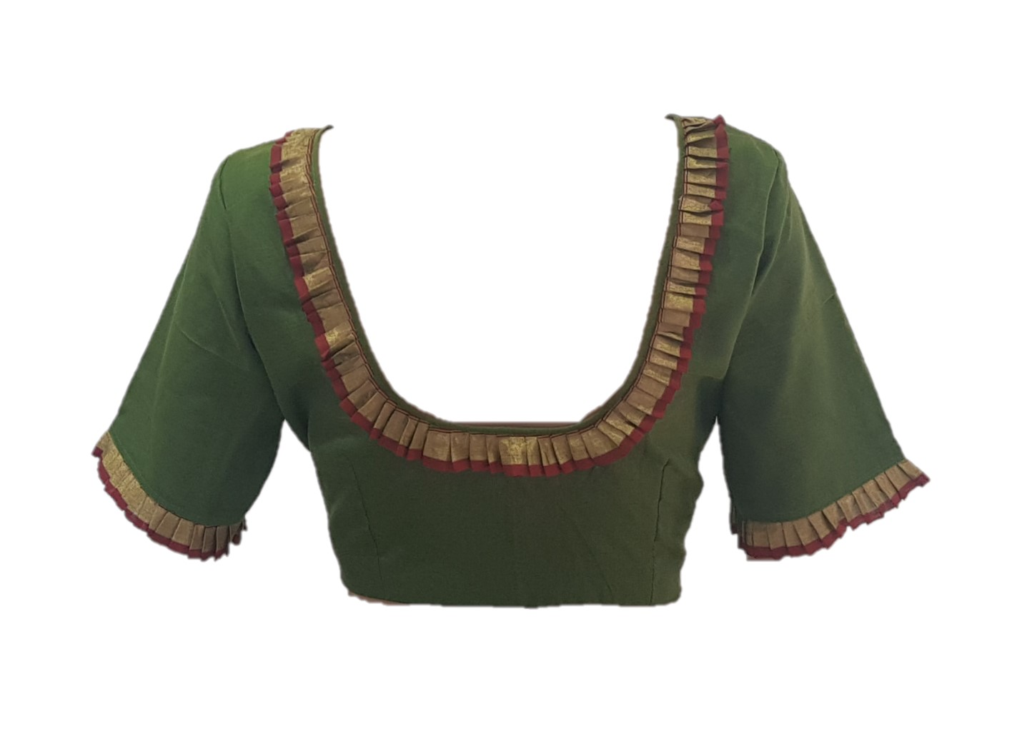 Chanderi Pure Silk Cotton Fabric Neck Frills Readymade Saree Blouse Mehendi Green Size Medium : Picture