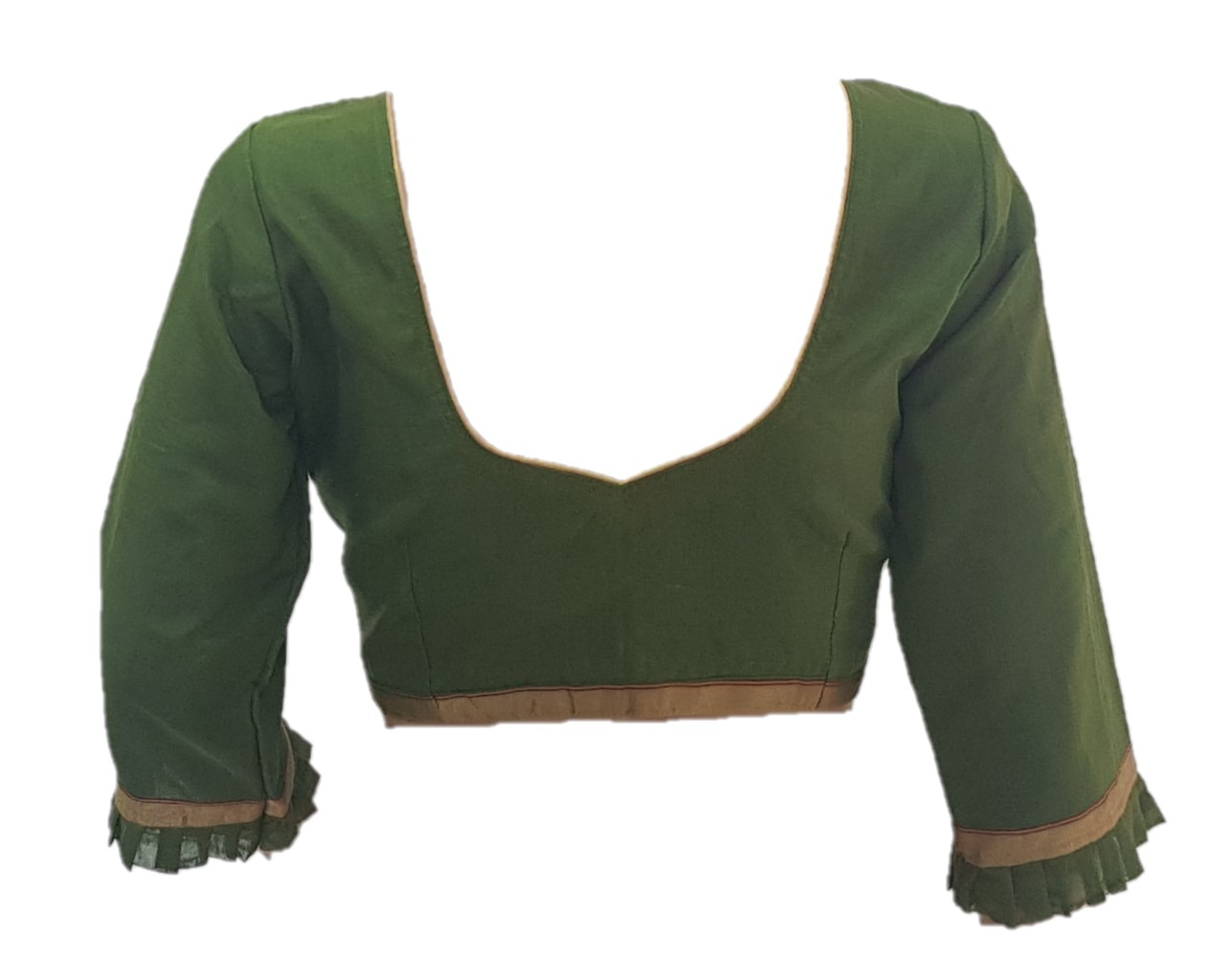 Chanderi Pure Silk Cotton Fabric Long Sleeves with Frills Readymade Saree Blouse Mehendi Green Size Medium : Picture