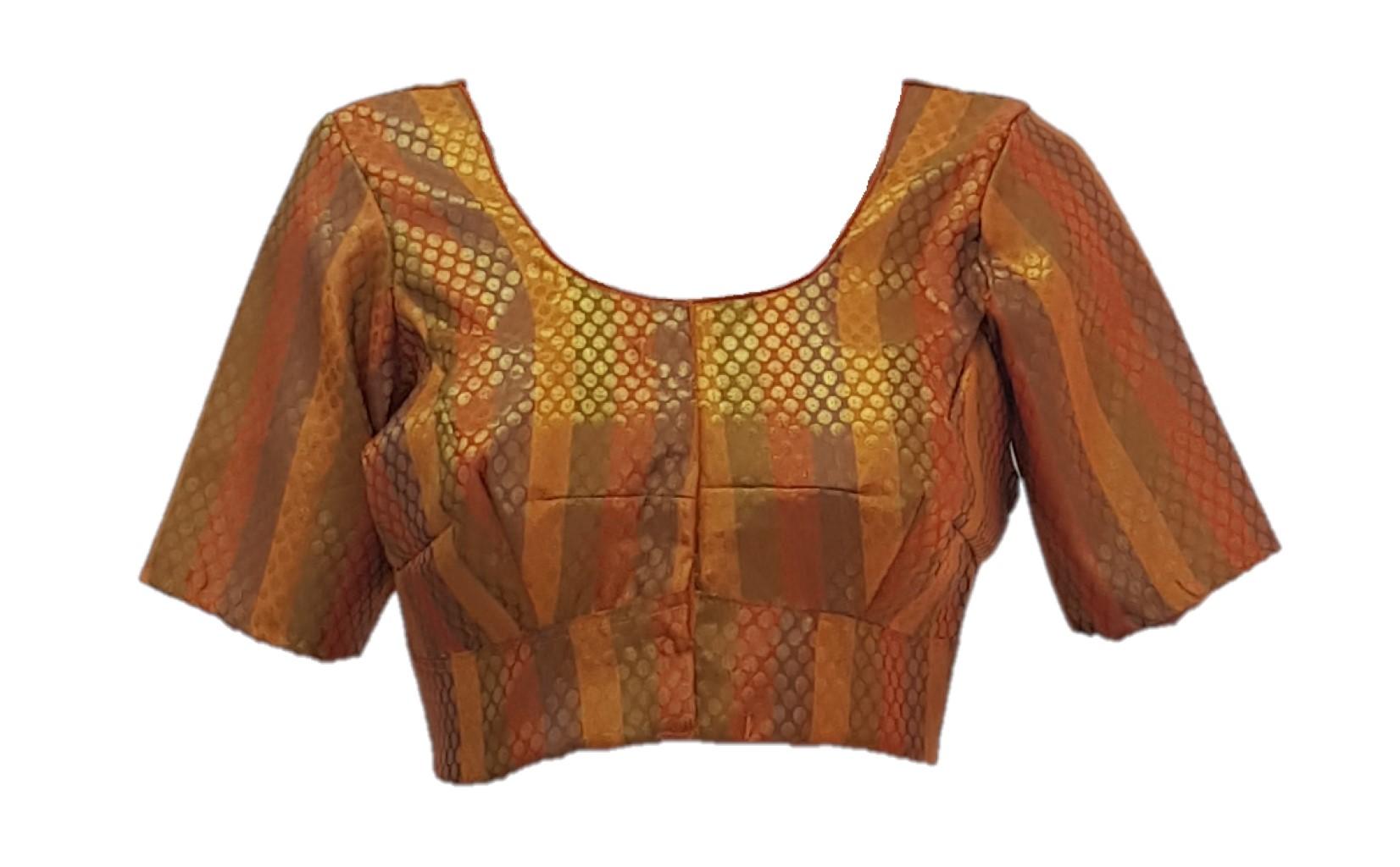 Art Silk Fabric Jari Work Readymade Saree Blouse Yellow Size Medium : Picture