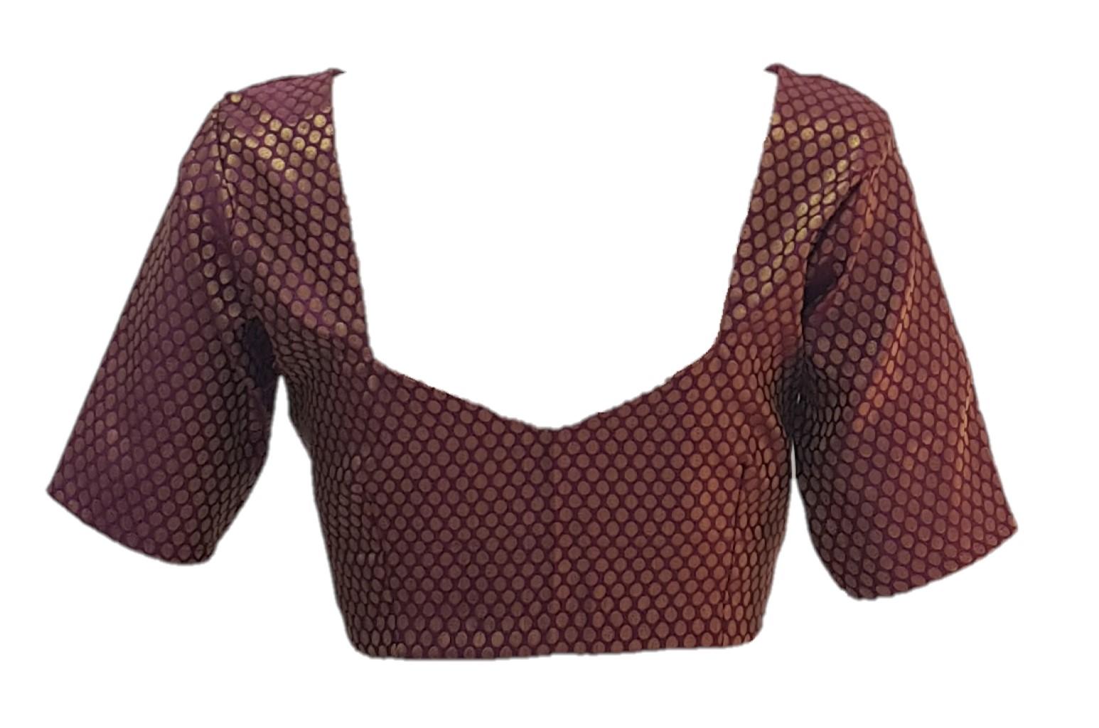 Art Silk Fabric Jari Work Readymade Saree Blouse Deep Purple Size Medium : Picture