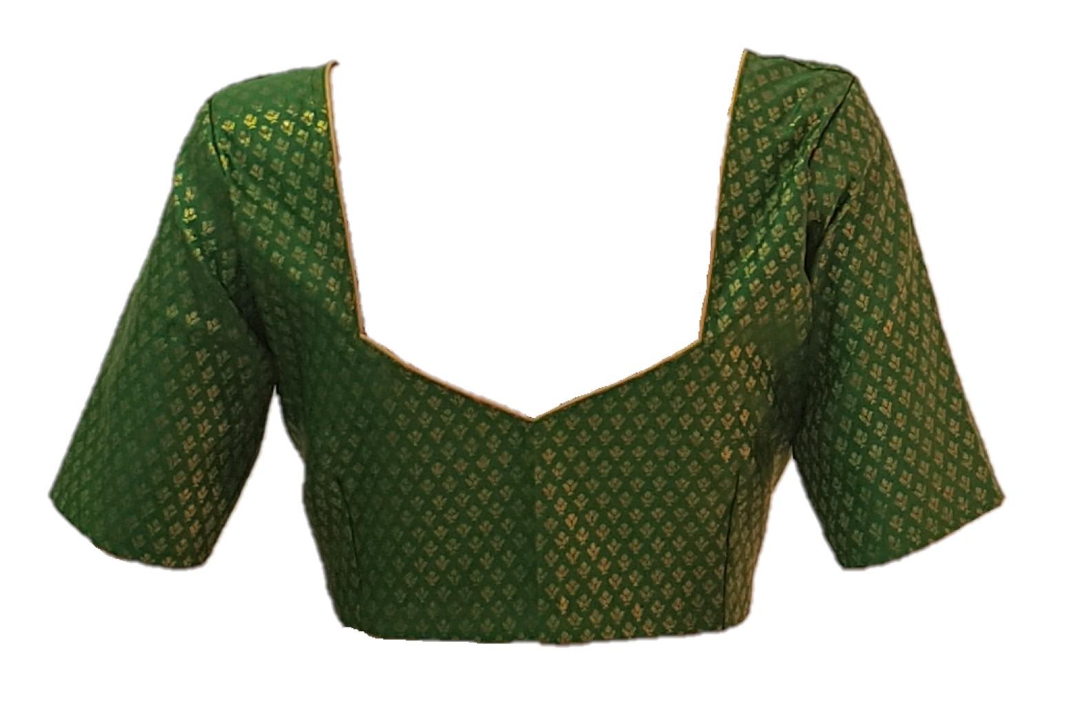 Art Silk Fabric Jari Work Readymade Saree Blouse Parrot Green Size Medium : Picture