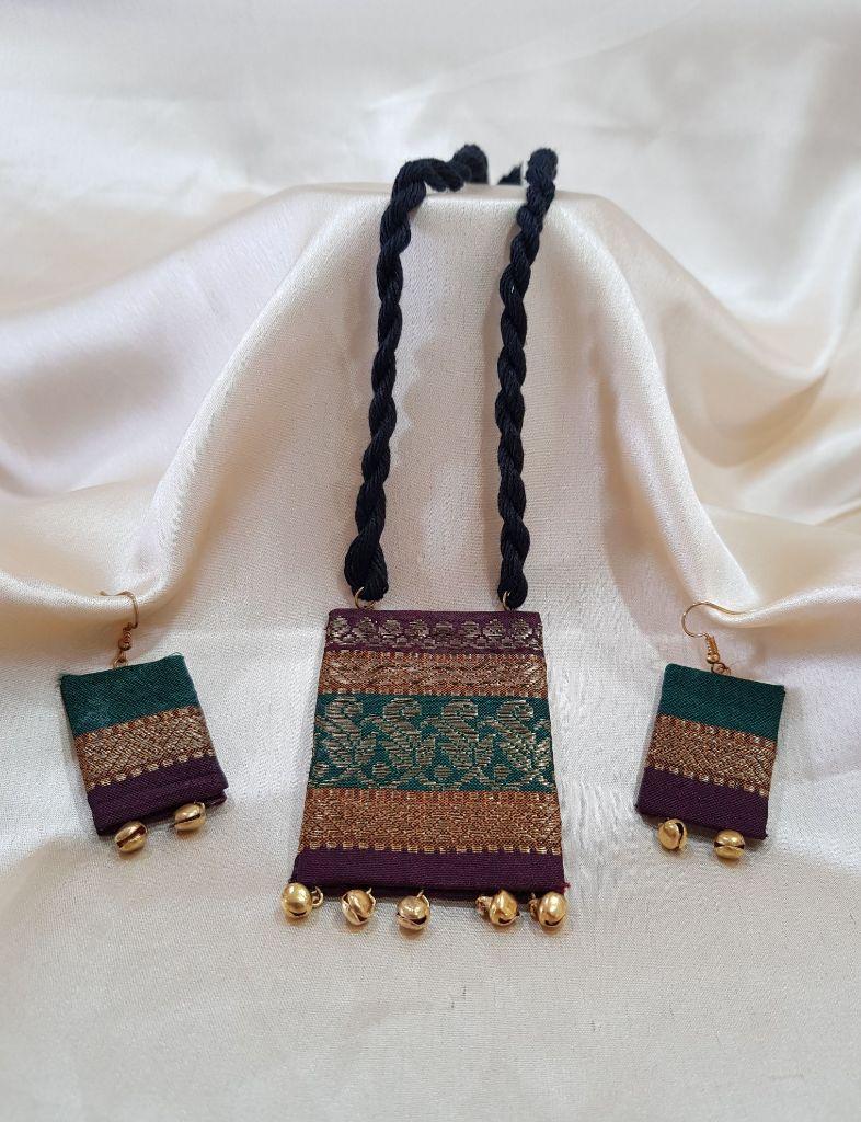 Handcrafted Fabric Jari Work Jewellery Set Green Brown : Details
