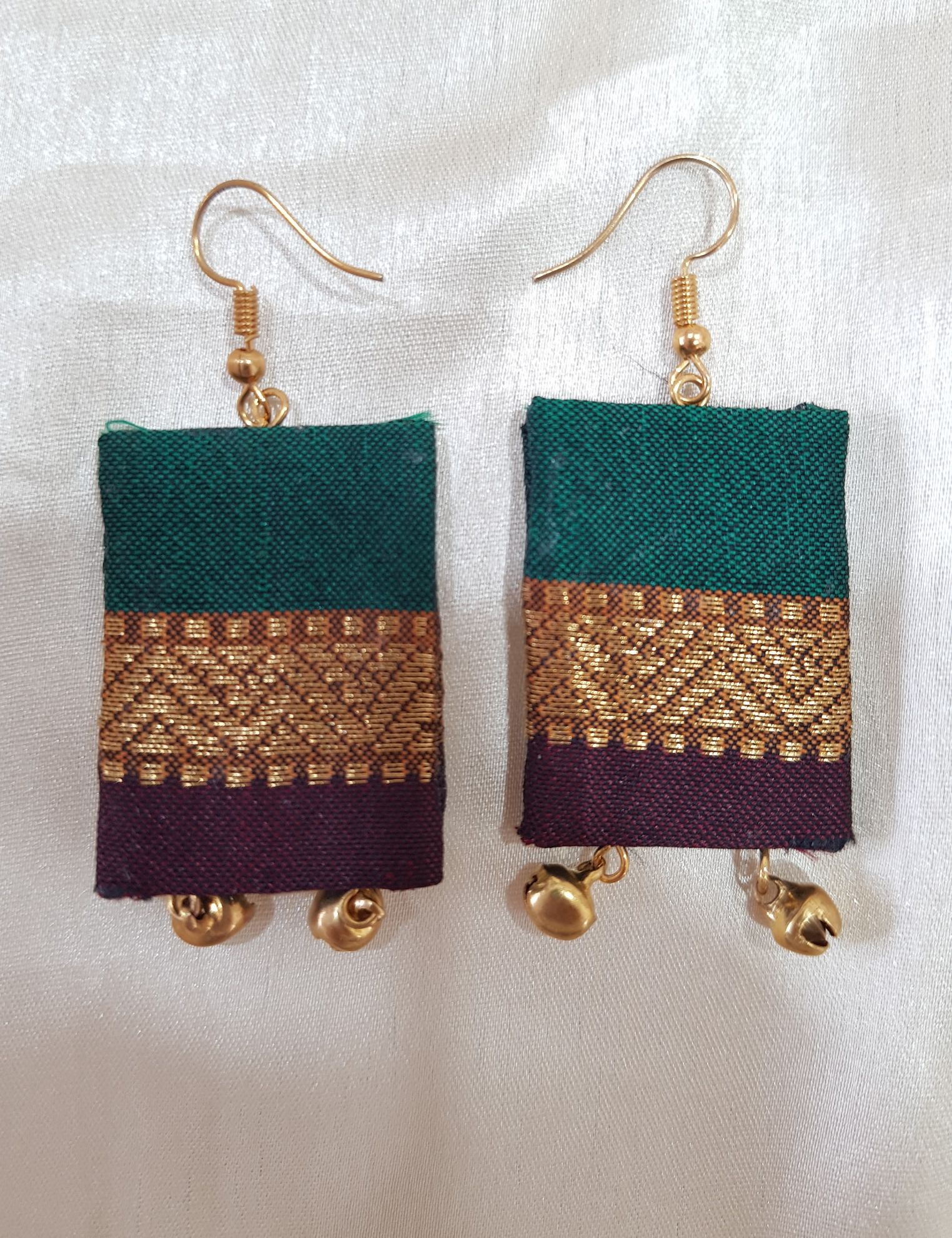 Handcrafted Fabric Jari Work Jewellery Set Green Brown : Picture