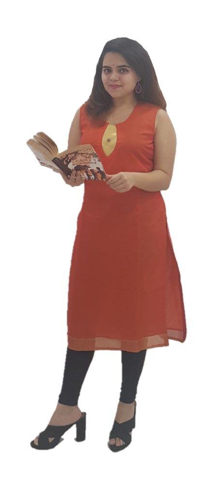 Upcycled Sleeveless Kurti of Mercerised Cotton Fabric Orange Size Medium : Details