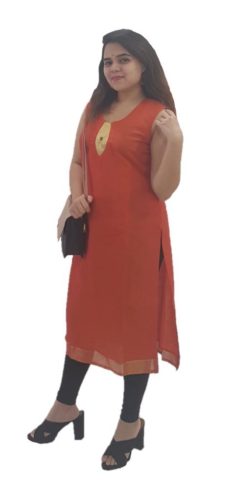Upcycled Sleeveless Kurti of Mercerised Cotton Fabric Orange Size Medium : Picture