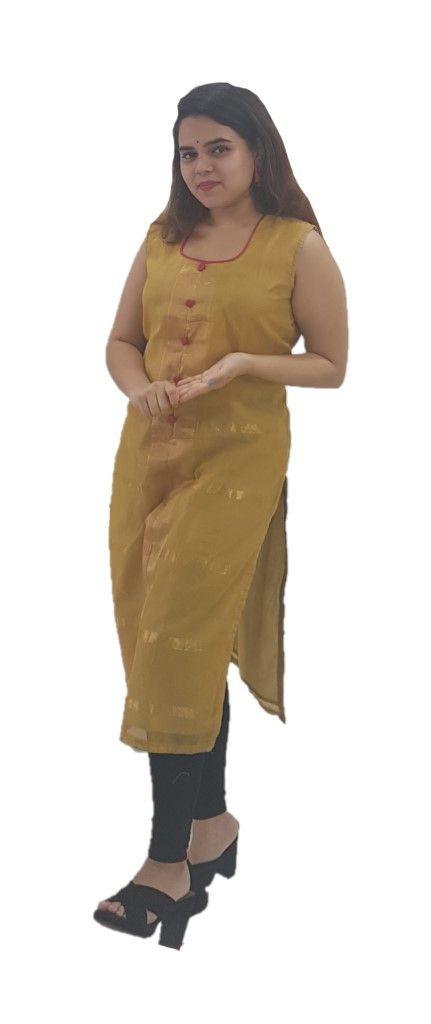 Upcycled Sleeveless Kurti of Mercerised Cotton Fabric Khaki Size Medium : Details