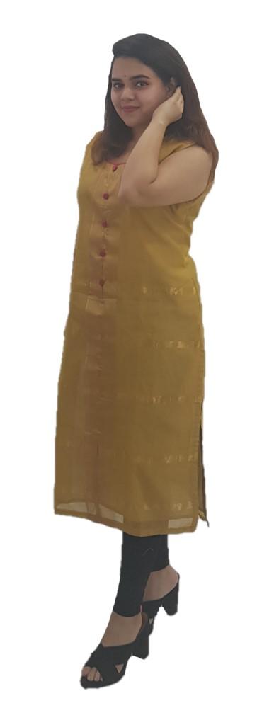 Upcycled Sleeveless Kurti of Mercerised Cotton Fabric Khaki Size Medium : Picture