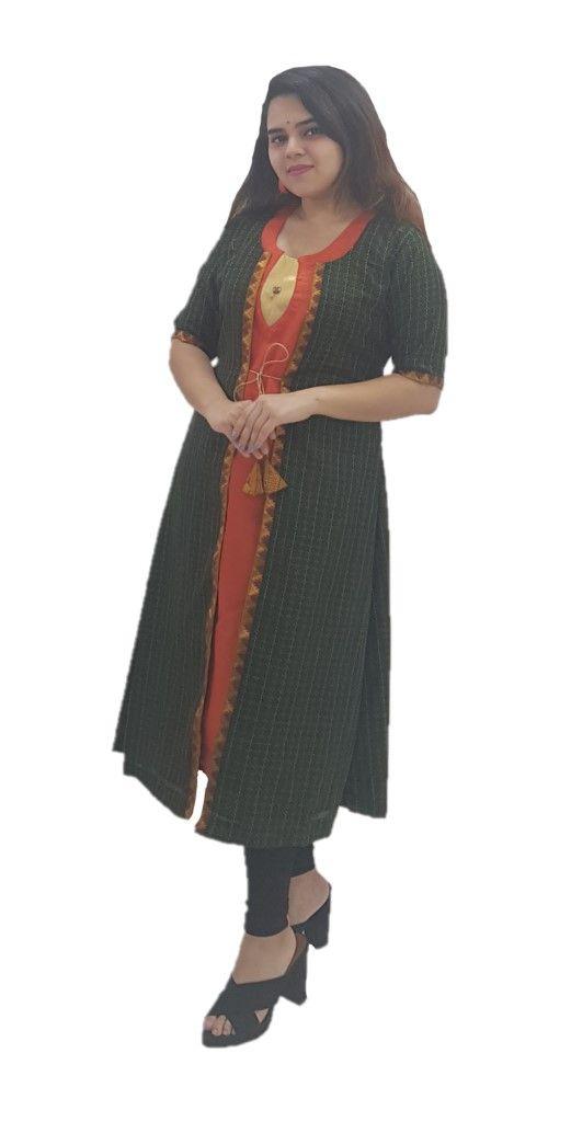Upcycled Long Ethnic Jacket Ilkal Fabric with Front Knot BottleGreen Size Medium : Details
