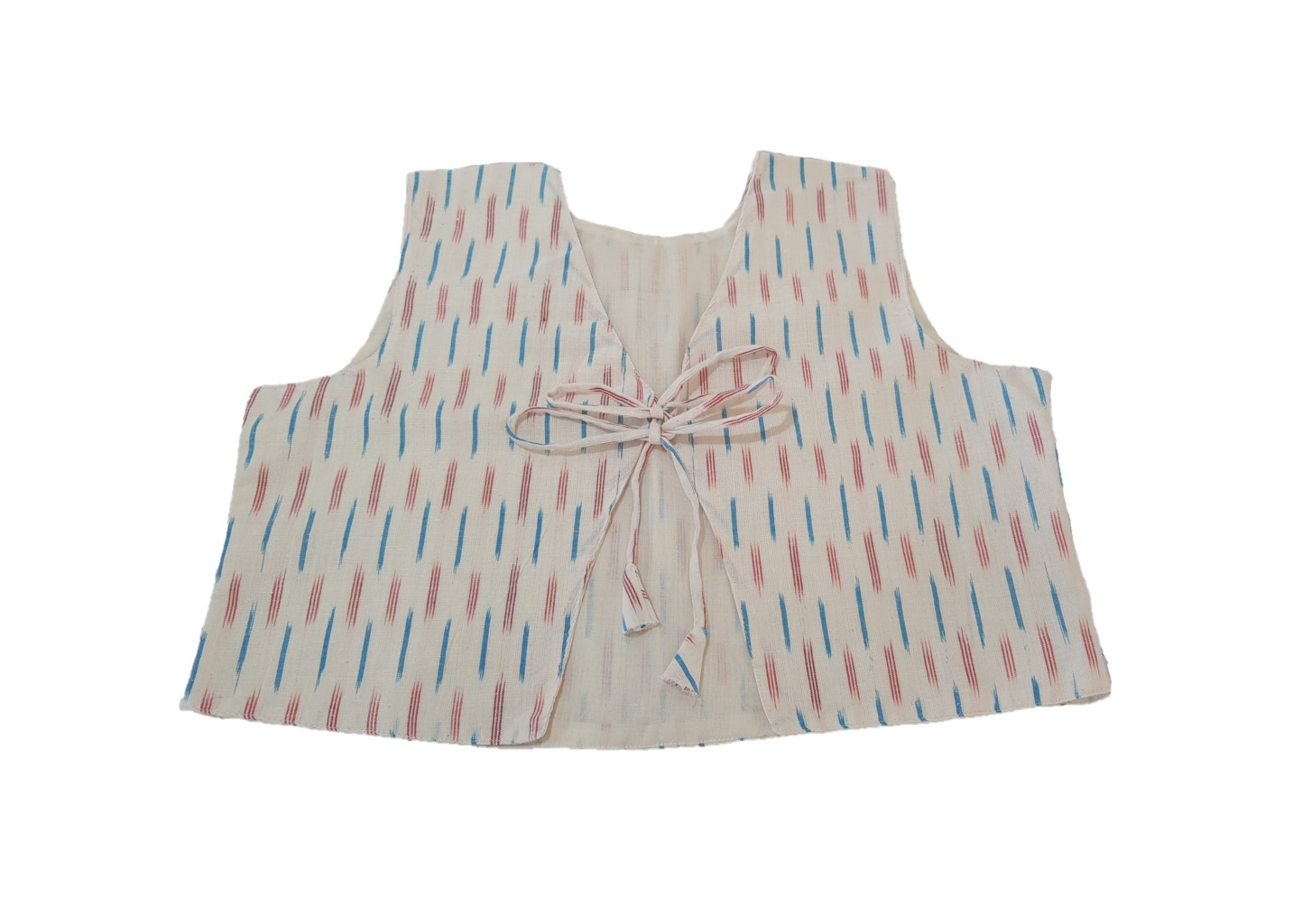 Pochampally Ikat Jacket Short Waist Coat with Front Knot OffWhite Size Large : Picture