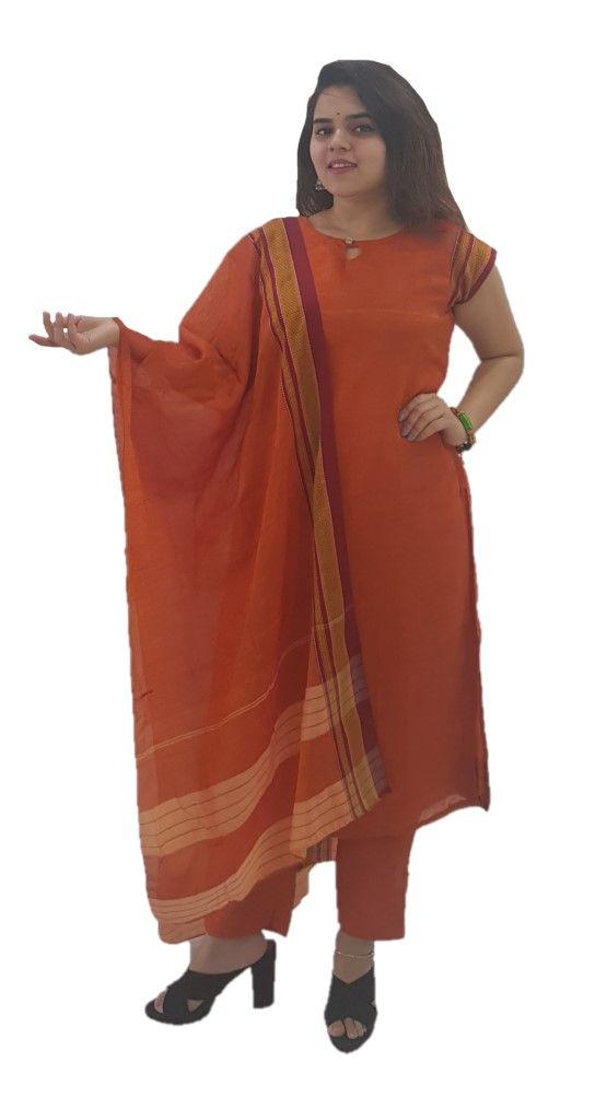 Ilkal Cotton Silk Stitched Suit Set Orange Size Medium : Details