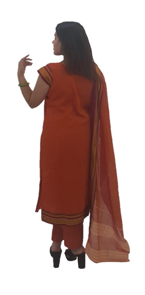 Ilkal Cotton Silk Stitched Suit Set Orange Size Medium : Picture