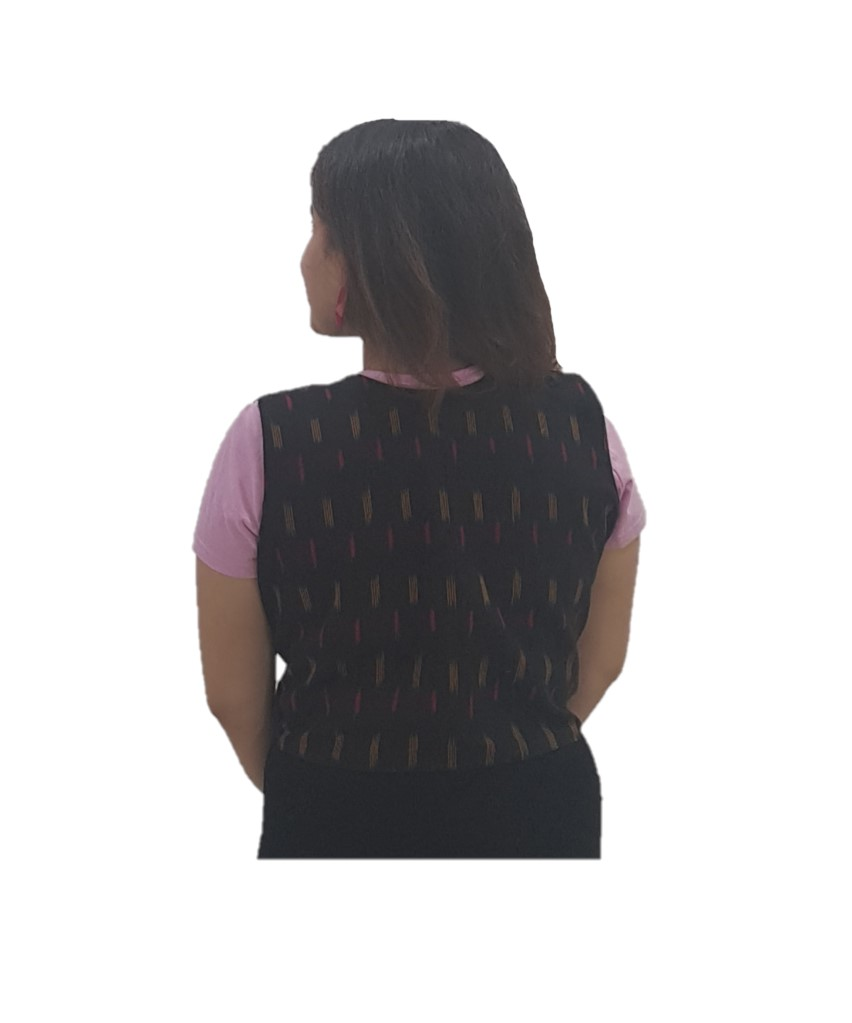 Pochampally Ikat Jacket Short Waist Coat with Front Knot Black Size Large : Picture
