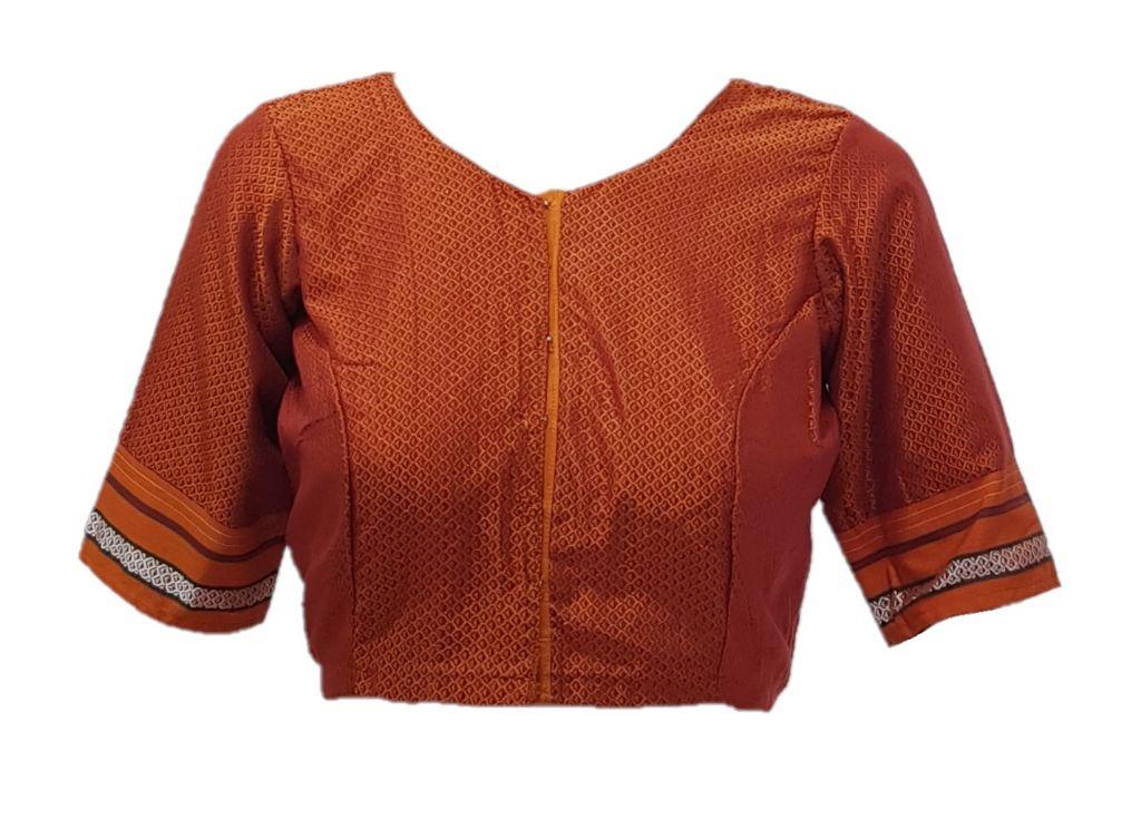Ilkal Cotton Silk Khun Fabric Boat Neck Readymade Saree Blouse Copper Orange : Picture