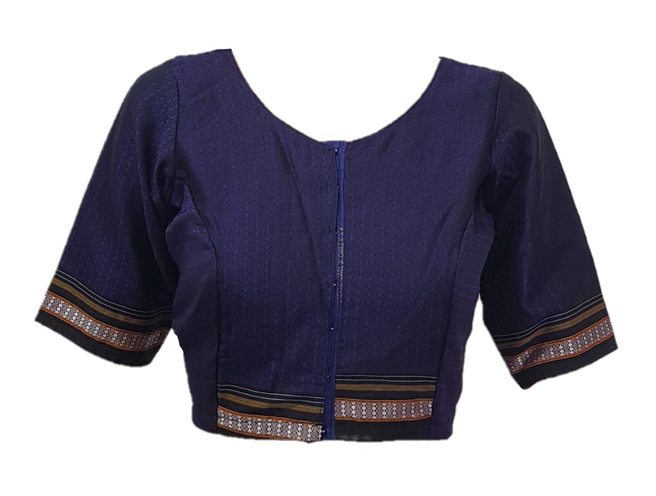Ilkal Cotton Silk Khun Fabric Boat Neck Readymade Saree Blouse Deep Violet : Picture