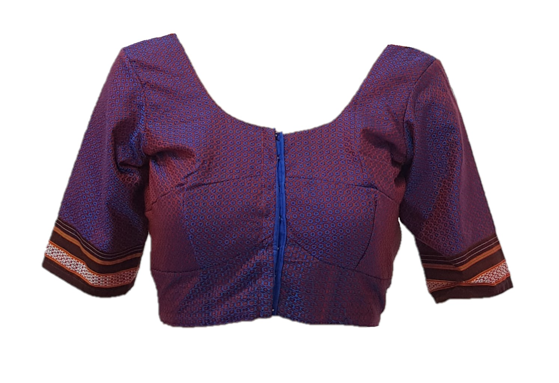 Ilkal Cotton Silk Khun Fabric Readymade Saree Blouse Purple Blue Size Medium : Picture