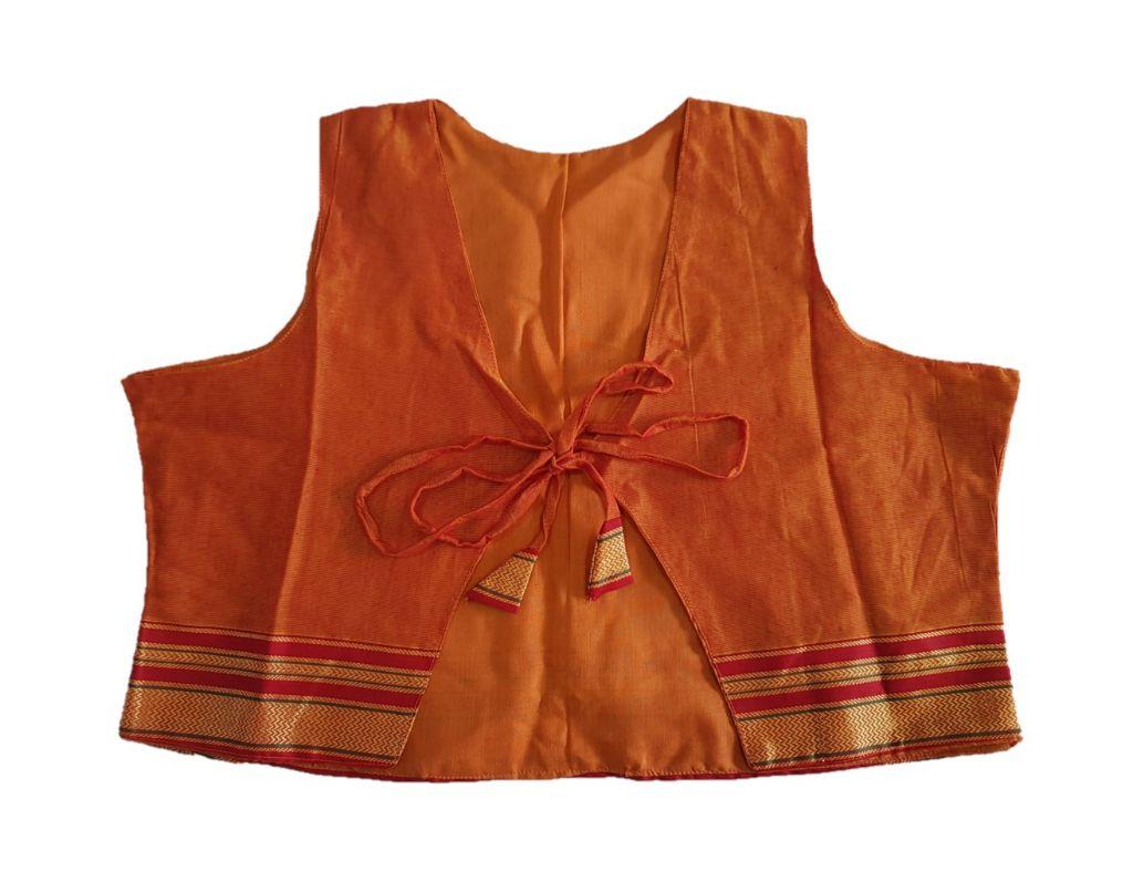 Ilkal Cotton Silk Jacket Short Waist Coat with Front Knot Orange Size Large : Details