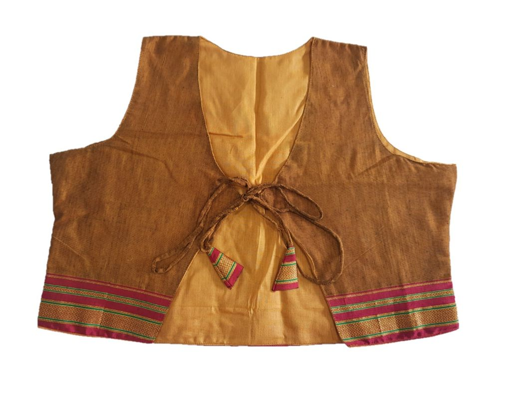 Ilkal Cotton Silk Jacket Short Waist Coat with Front Knot BrownYellow Size Large : Details